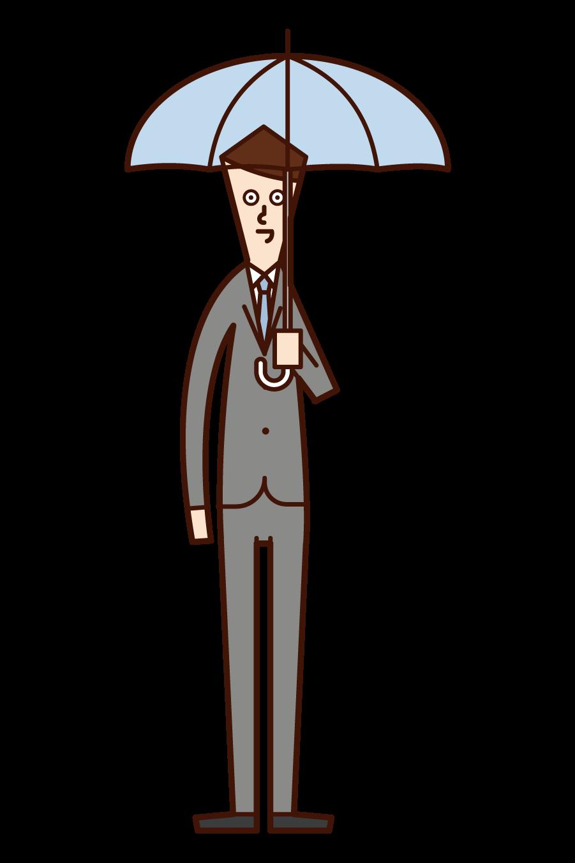 拿著傘的人(男性)的插圖