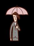 拿著傘的人(女人)的插圖
