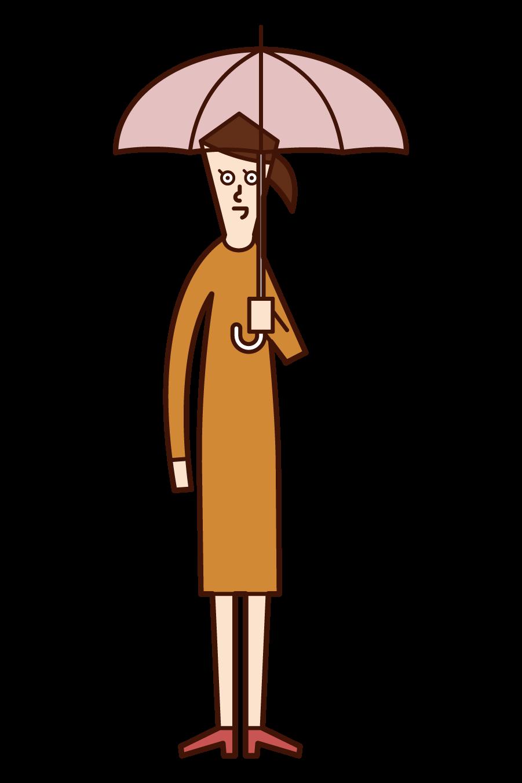 우산을 들고 있는 사람(여성)의 일러스트