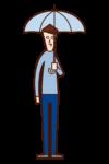 傘をさす人(男性)のイラスト