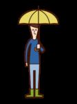 우산을 가진 어린이 (소년)의 그림