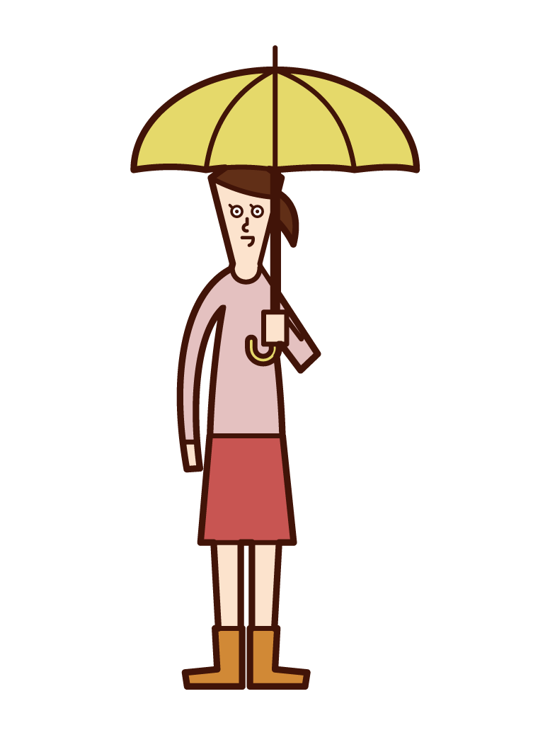 兒童(女孩)的插圖,她拿著傘