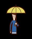 Illustration of a child (boy) holding an umbrella