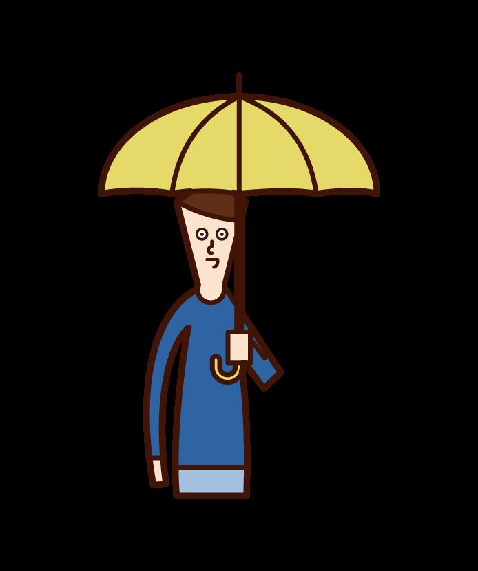 帶傘的孩子(男孩)的插圖