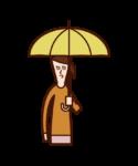 傘をさす子供(女子)のイラスト