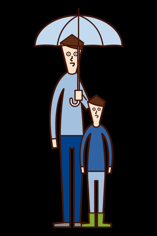 우산을 들고 있는 부모와 자녀(남성)의 일러스트