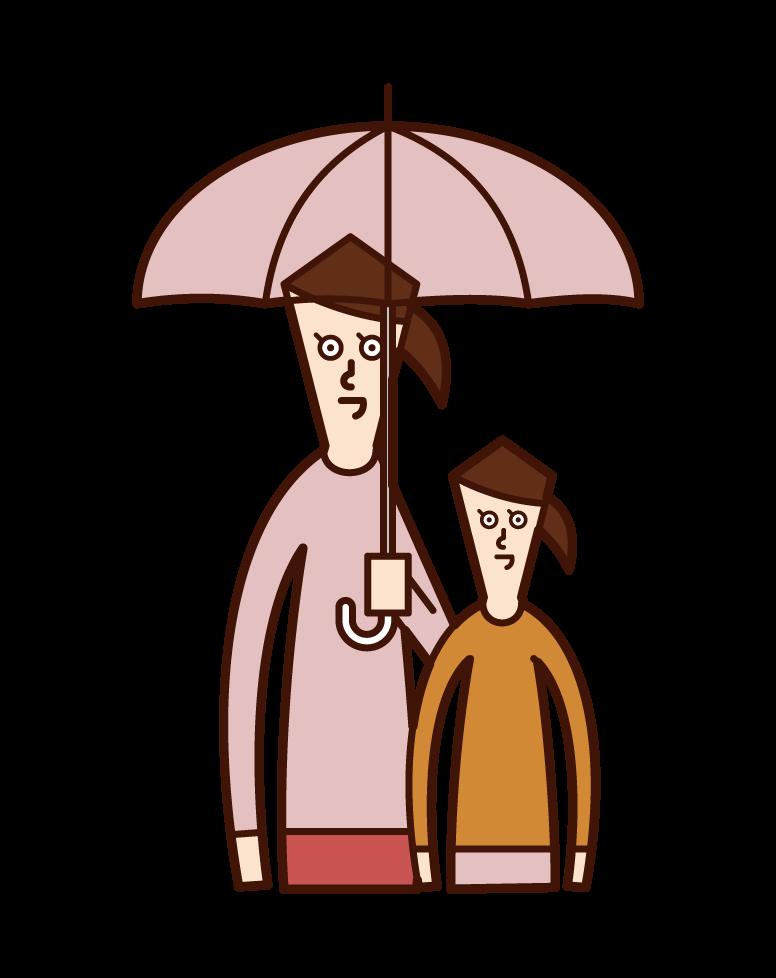 父母和孩子(女性)的插圖,他們拿著傘