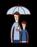 父母和孩子(男性)的插圖,他們拿著雨傘