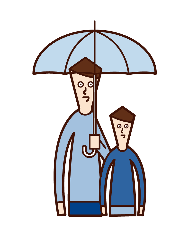 Illustration of couple with a combination umbrella