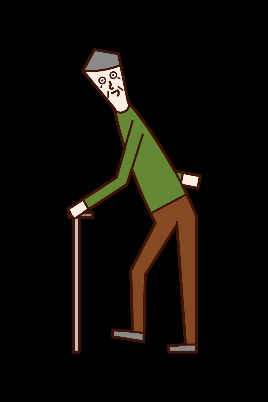 老人行走的插圖