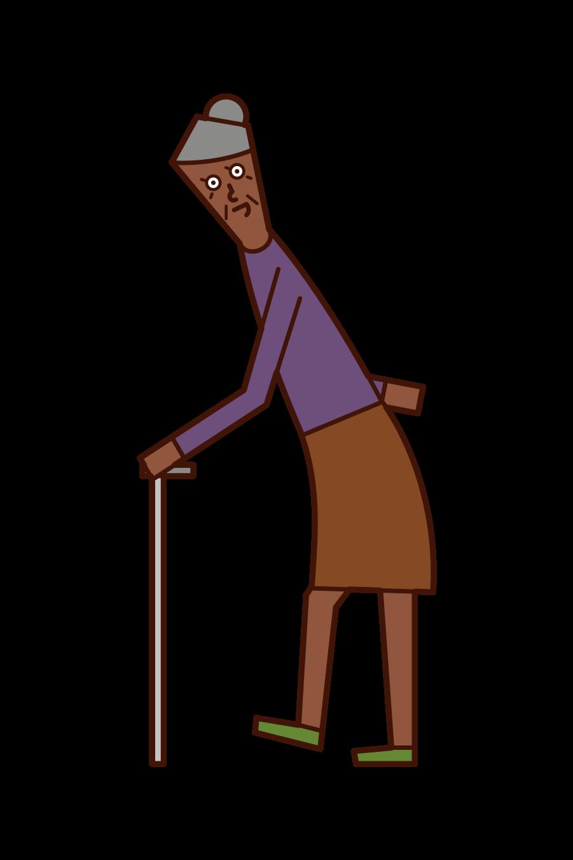 Illustration of an elderly (grandmother) walking