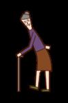 걷는 노인의 일러스트