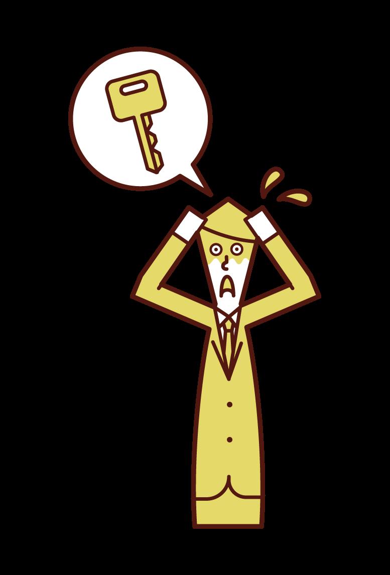 열쇠를 잃고 참을성이 없는 사람(남성)의 그림