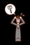 鍵を無くして焦る人(女性)のイラスト