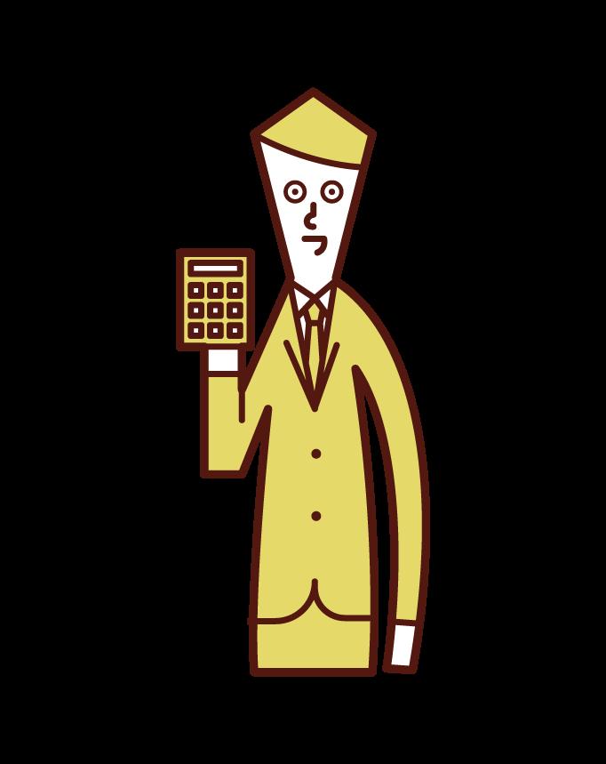 在計算機上計算錢的人(男性)的插圖
