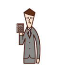Illustration of a man who calculates money with a calculator