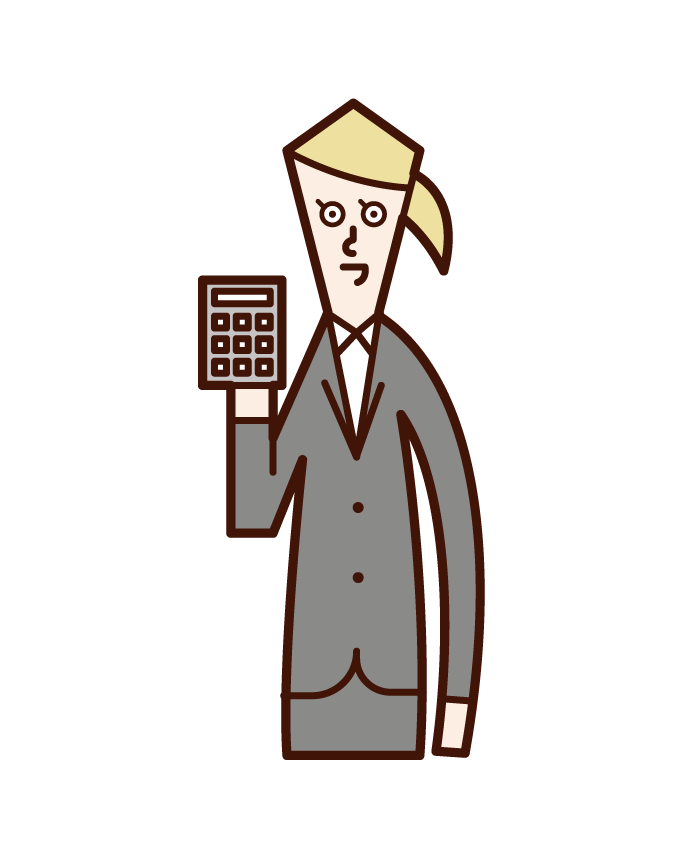 Illustration of a woman who calculates money with a calculator