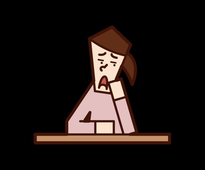 眠い人(女性)のイラスト
