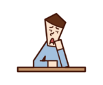 Illustration of a person (man) with a boring expression