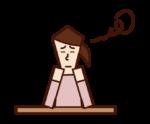 つまらない・退屈な表情をする人(女性)のイラスト