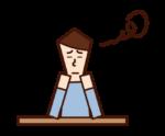 つまらない・退屈な表情をする人(男性)のイラスト