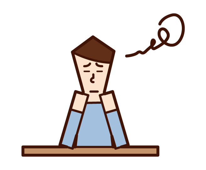 Illustration of a person (man) with a boring and boring expression
