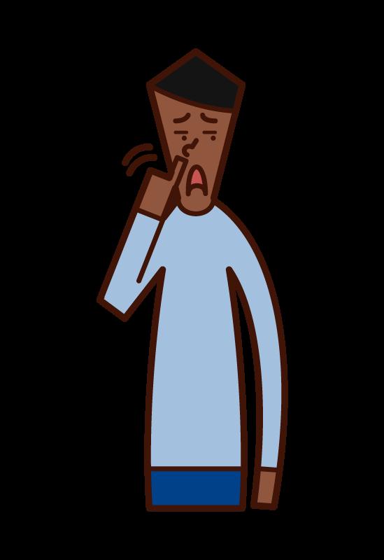 鼻涕的人(男性)的插圖