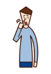 鼻くそをほじる人(男性)のイラスト