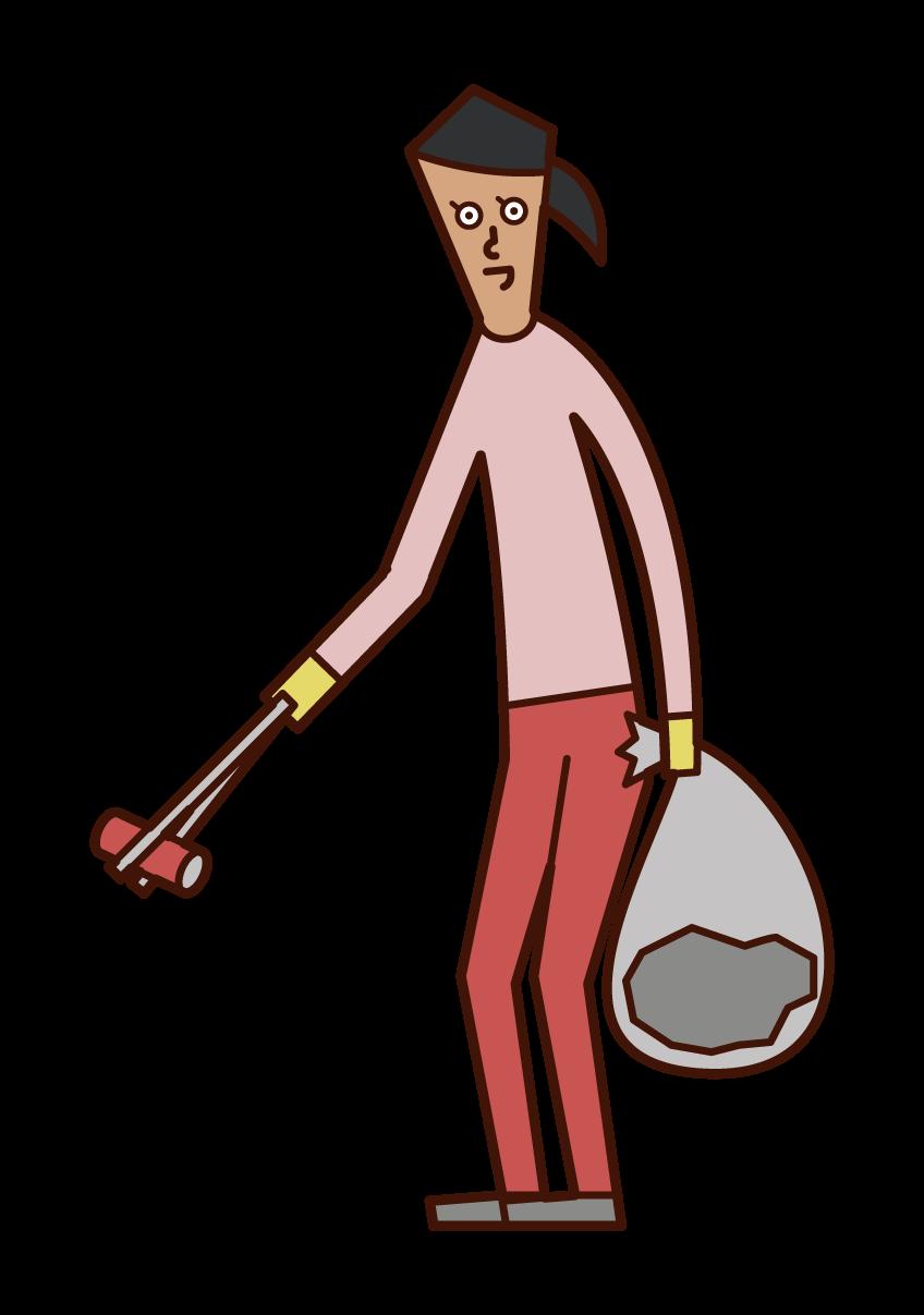 撿垃圾的人(女性)的插圖