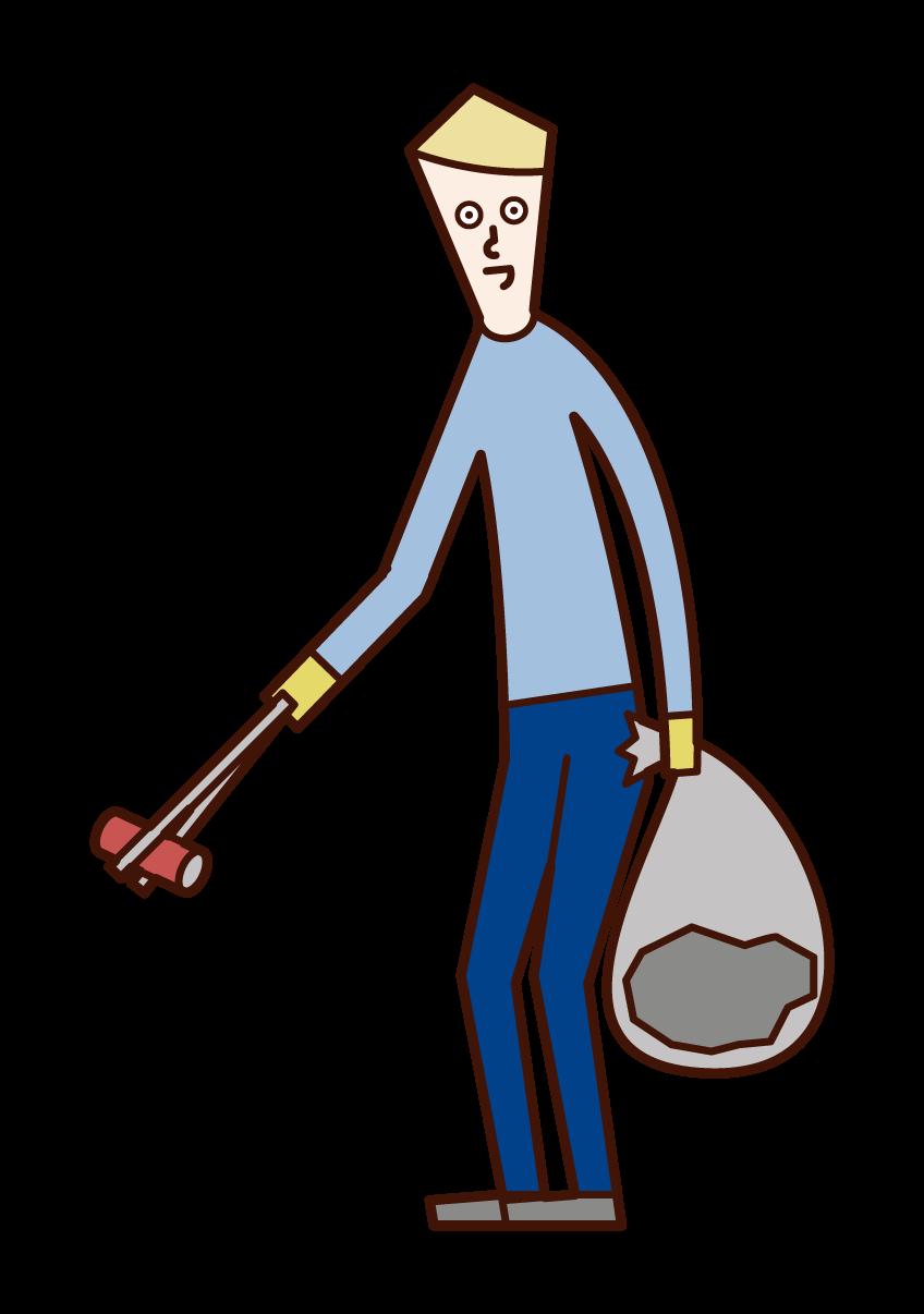 Illustration of a man picking up garbage