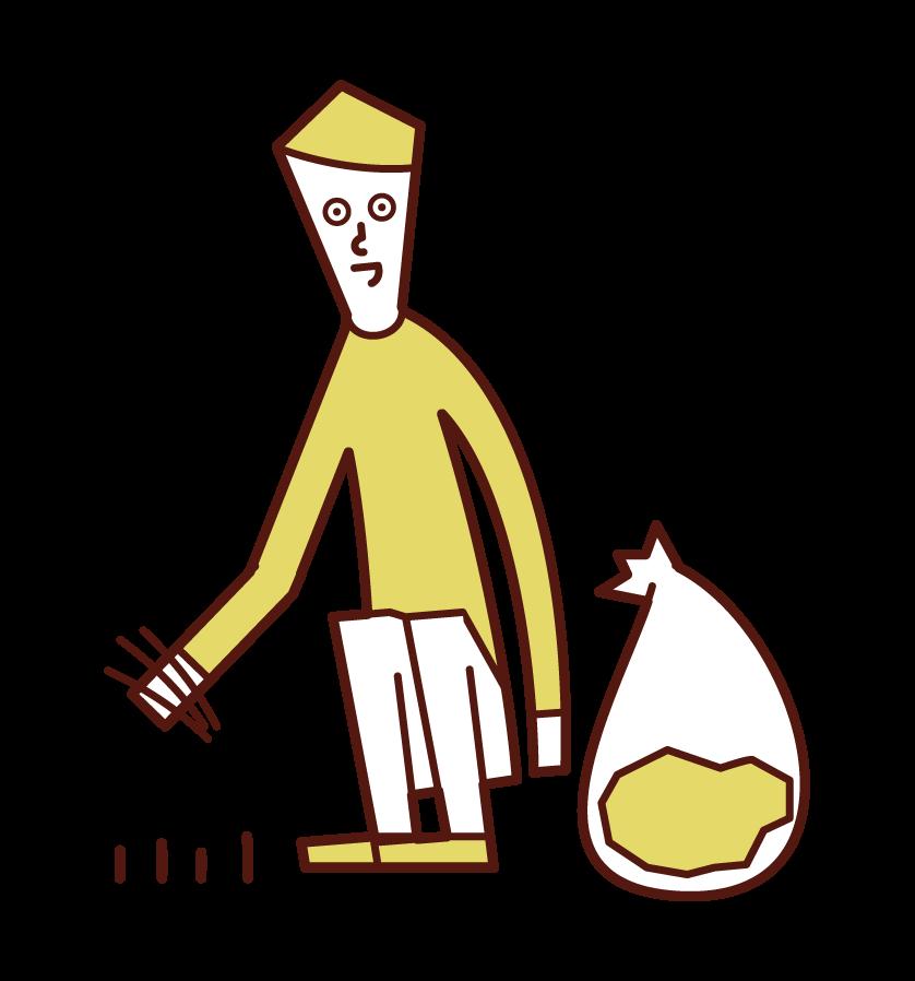 除草者(男性)的插圖