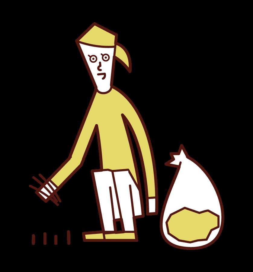 拔草者(女性)的插圖