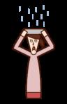 雨中人(女性)的插圖