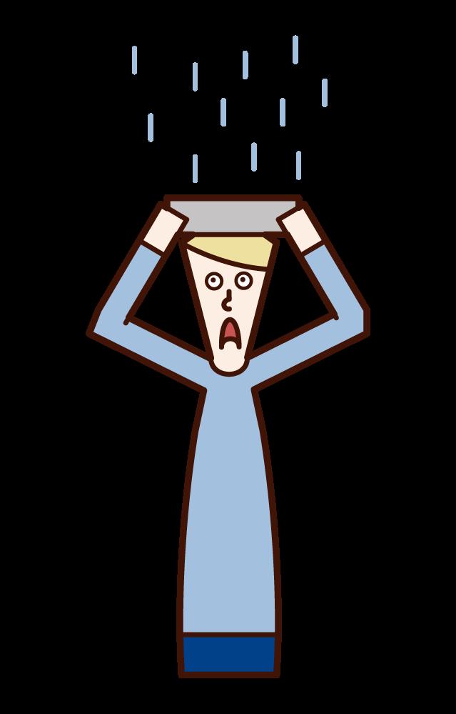 雨宿りをする人(男性)のイラスト