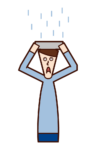 Illustration of a man who is in the rain