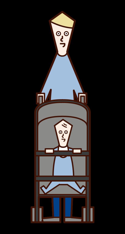 ベビーカーを押す人(男性)のイラスト