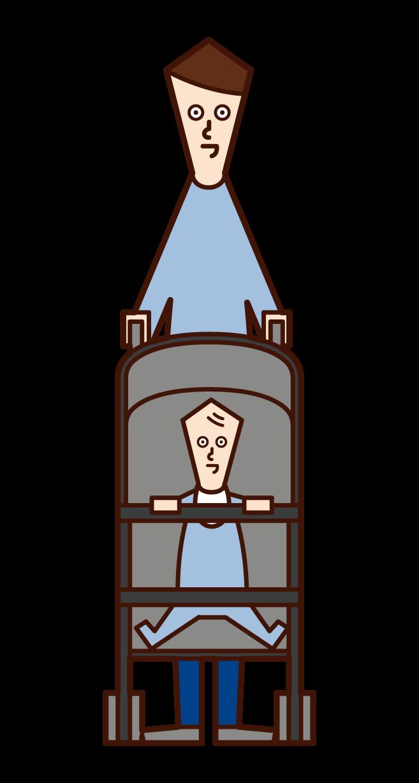 유모차를 밀고있는 사람 (남성)의 그림