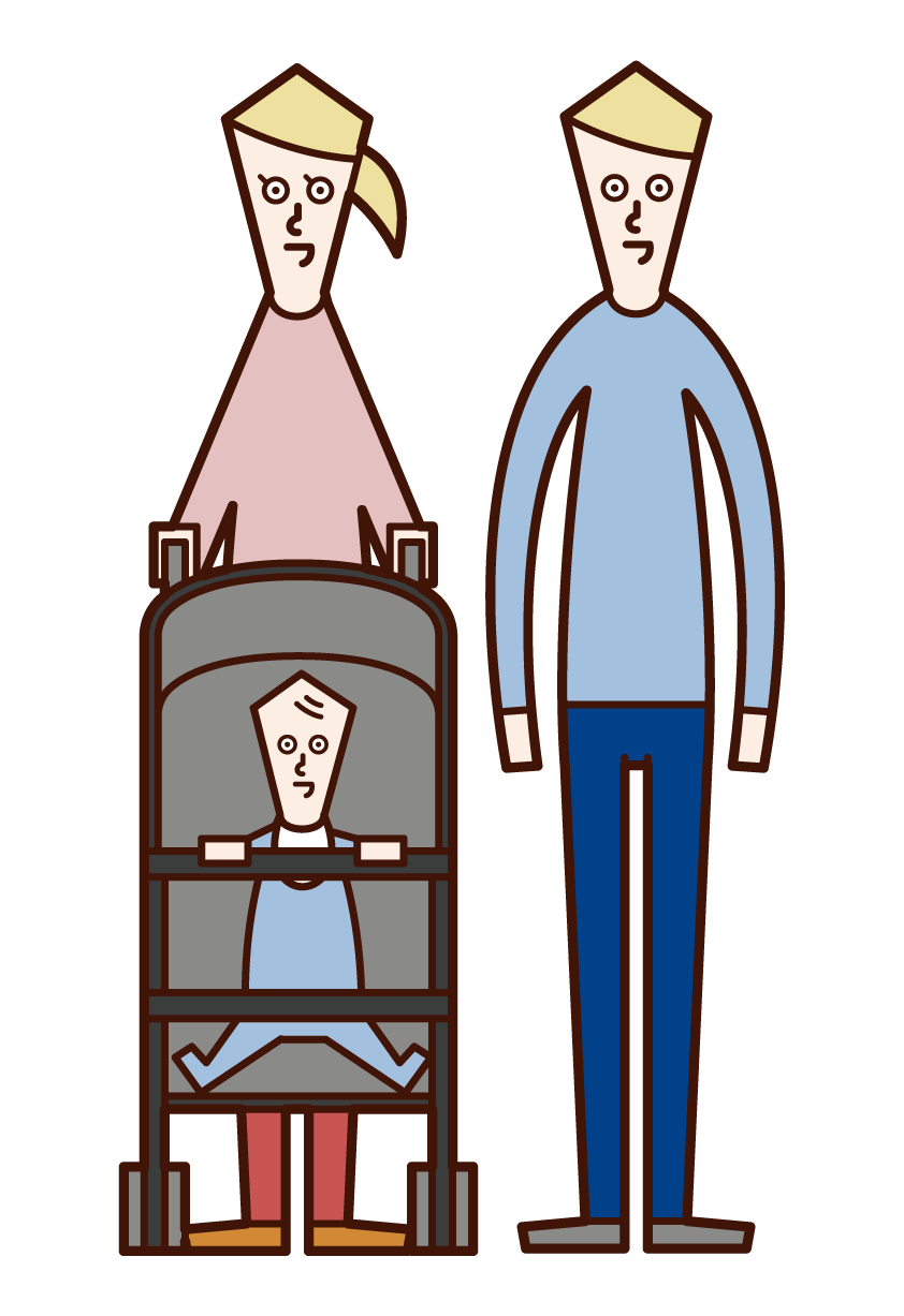 Illustration of a couple pushing into a stroller