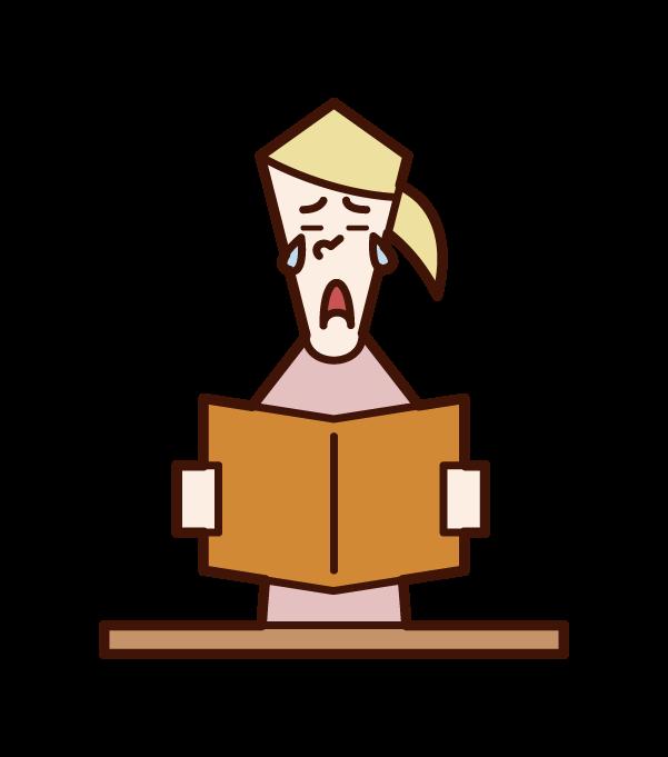 閱讀書籍時印象深刻的人(女性)的插圖