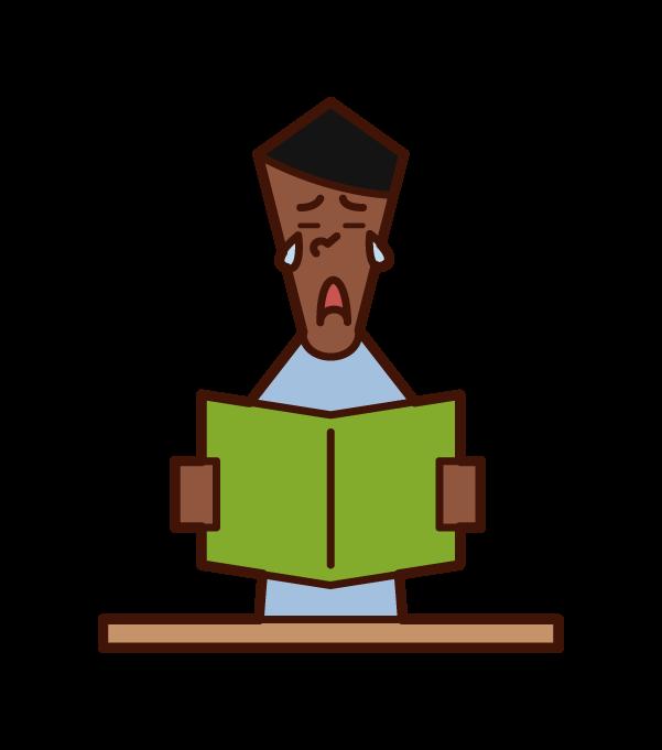 本を読んで感動する人(男性)のイラスト