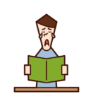 Illustration of a person (man) who is impressed by reading a book