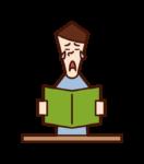 책을 읽을 때 인상적인 사람들 (남성)의 그림