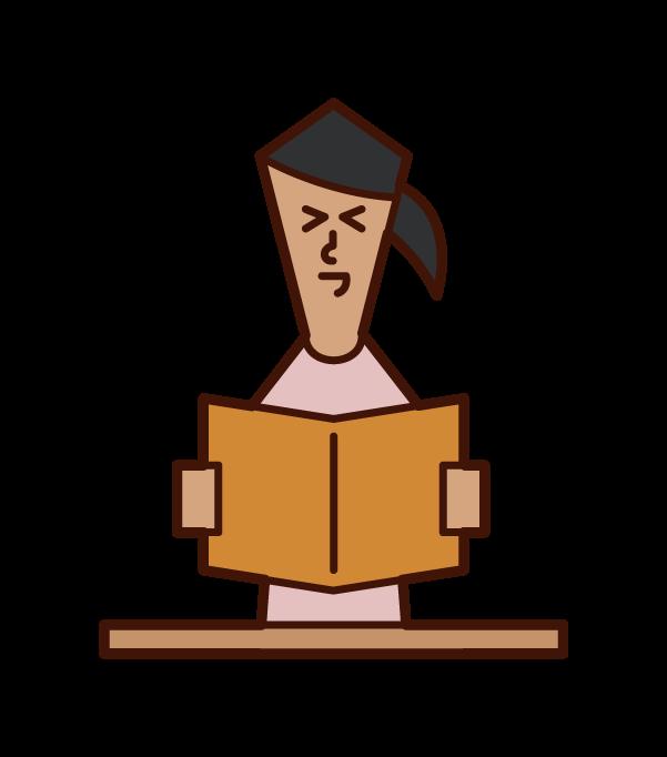 本を読んで笑う人(女性)のイラスト