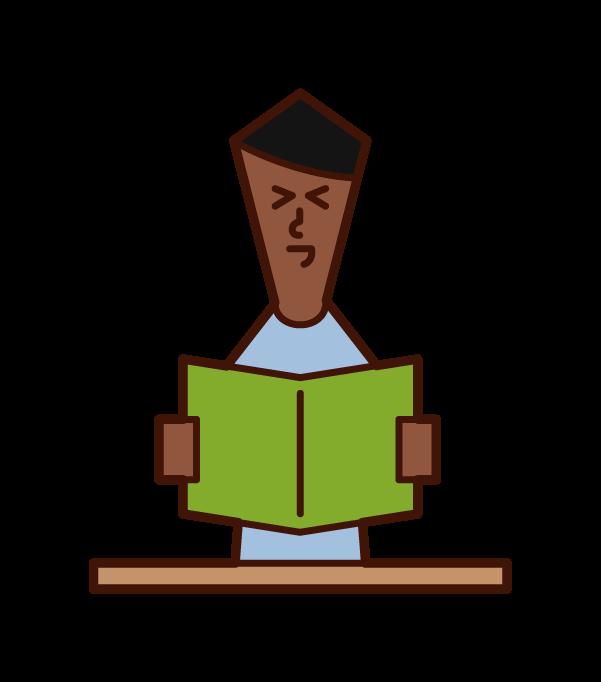 閱讀和笑書的人(男性)的插圖
