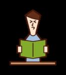 책을 읽고 웃는 사람 (남성)의 그림