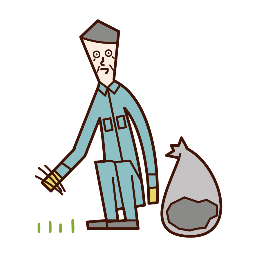 Illustration of a person (old man) who is weeding