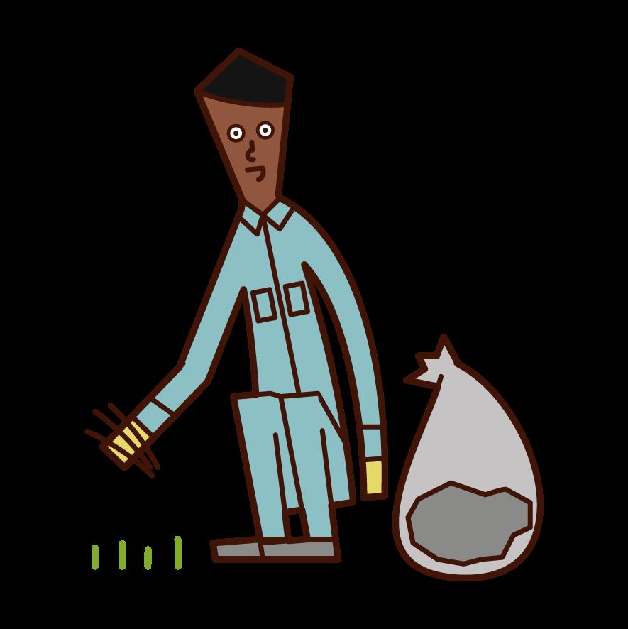 草抜きをする人(男性)のイラスト