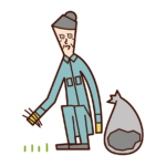 Illustration of an old man who is weeding