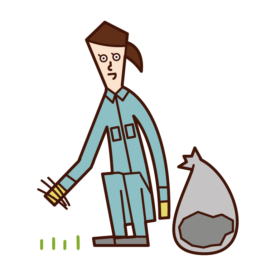 Illustration of a woman who is weeding