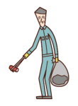 Illustration of a person (old man) picking up garbage